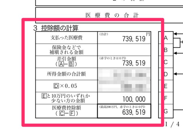 控除額の計算の例
